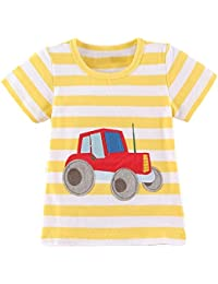 Webla Toddler Baby Boys Kids Clothes Short Sleeve Car Print Tops T-Shirt Ages 1-6 Years