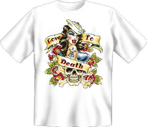 Love to Death - Liebe über Alles T-Shirt Tag der Toten Blumen Skull Dia de los Muertos Girl Gr. 5XL : (Death The Kid Girl Kostüm)