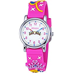 ZEIGER Kinderuhr Mädchen Armbanduhren Silikon Analog Quarz Lernuhr Rosa Mädchenuhren Kaiserkrone Muster KW040