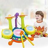 PowerBH Kids Drum Set Blitzlicht Spielzeug Mit Einstellbaren Mikrofon Kunststoff Bildung Elektrische Jazz Drums
