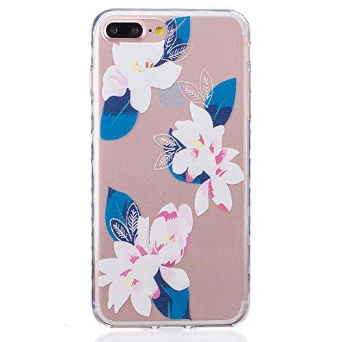 Ooboom® iPhone 8 Plus/iPhone 7 Plus Coque TPU Silicone Gel Housse Étui Cover Case Pare-chocs Souple Anti-glisse Ultra Mince pour iPhone 8 Plus/iPhone 7 Plus - Fleur de Pêche Lis