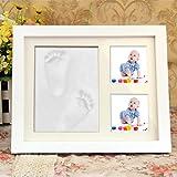Fontic 28,5x23cm Geschenke zur Taufe Baby Bilderrahmen für Handabdruck und Fußabdruck Gipsabdruck aus Echtholz Babyrahmen mit sicherem Acrylglas und SGS zertifizierten Abdruckmasse Baby Geschenke Geburt