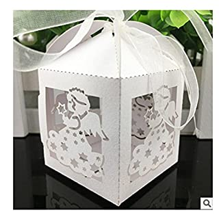 Abaobao®50PCS Laser Cut White Angel Wedding Box in Pearlescent Paper box,party show candy box,party shower gifts,Chocolate Box for Wedding,Birthday,Baby Shower Holy Communion Graduation Party (Angel)