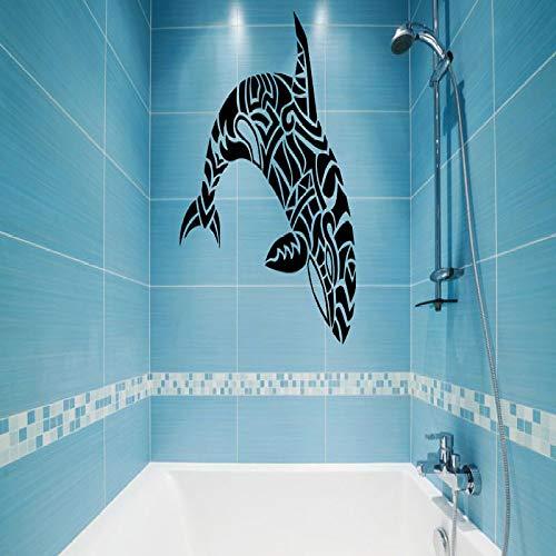 jiushizq Vinyl Wall Applique Dolphin Whale Muster Badezimmer Marine Sticker, Badezimmer Wandaufkleber, Badezimmer Schöne Dekoration Weiß 42x44cm (Volvo Marine Teile)