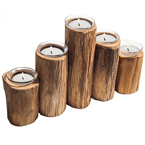 MyGift - Portavelas de madera con 5 cristales transparentes