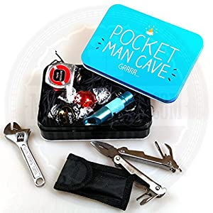 Tool Pocket Man Cave Tin with Lindt Truffles, Multi tool with led Torch, Mini Screwdriver with bits & Torch and Tape Measure - Perfect for the gift for the man who has everything in there life