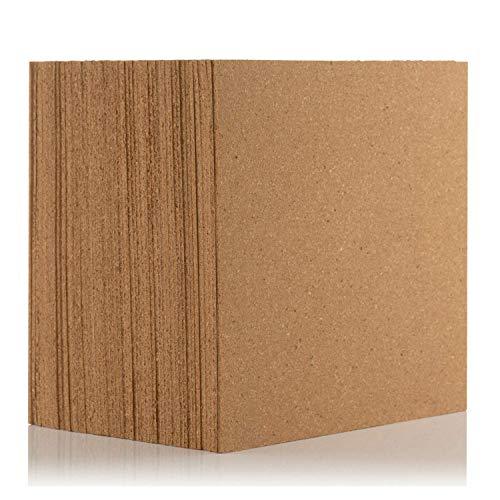 Azulejos de corcho natural de 300 x 300 mm (4 mm de grosor) para suelo/pared/bricolaje (paquete de 50)