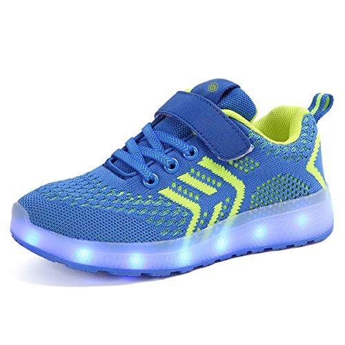 Scarpe led carica usb 7 colori lampeggiante sneakers ragazzi e ragazze casuale traspirante maglia scarpe da corsa con luci lampeggiante multicolore (26 eu, blu 01)