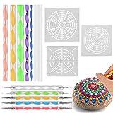 Kit de Pintura Mandala, Hisome 16 Piezas Mandala Dotting Herramientas DIY Mandala Arte Crafts Set con Plantilla Mandala, Varillas Acrílicas y Doble Cara Dotting Herramientas para Pared, Rocks Painting