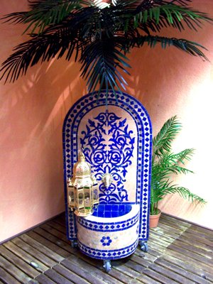 mediterraner Mosaikbrunnen Granada Blau, 120cm von Marrakesch auf Du und dein Garten