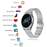 TKStar, touch screen smart watch, Bluetooth 4.0 sports fitness tracker, 0.96 OLED, smart bracelet with sleep monitor, blood pressure, heart rate monitor, pedometer, calorie count, SMS, alarm, JUM7, Silver