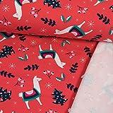 French Terry Stoff Weihnachten mit Alpakas rot Modestoffe -