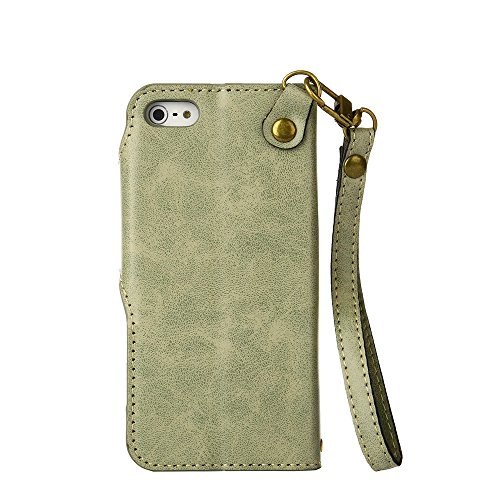 YHUISEN iPhone SE 5S Fall, Luxus Retro Rose Premium PU Leder Magnetverschluss Flip Wallet Schutzhülle mit Lanyard für iPhone SE / 5S / 5 ( Color : Blue ) Light Green