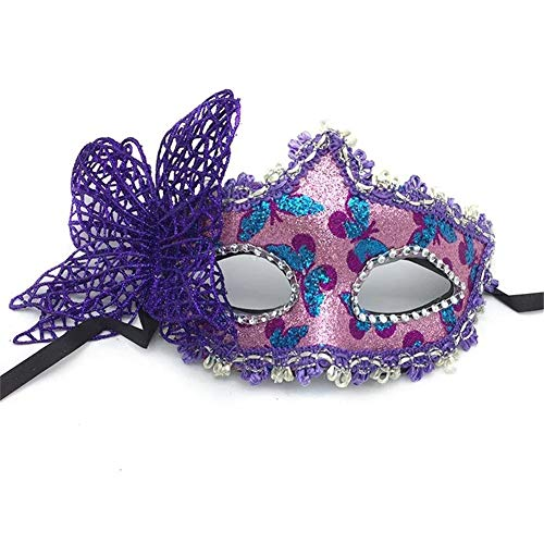 Fun Holi-day Supplies Halloween Maske Halbes Gesicht Schmetterling Mädchen Cosplay Maskerade,Purple