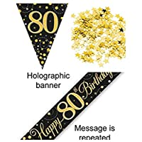 Everyoccasionpartysuppplies 80th Birthday Decoration Kit Banner Bunting Confetti Black And Gold Men Women Him Her