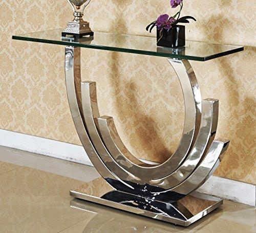 Obsidian Designer Spiegelkonsole Edelstahl Schminktisch Konsolentisch Konsole Glas