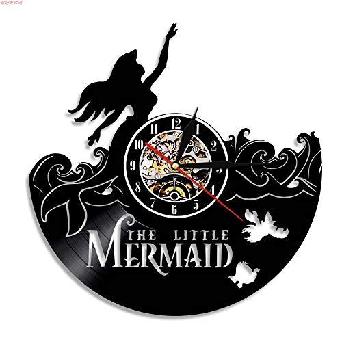 ieur Design Vinyl Record Wanduhr Home Kunst Dekoration-Die kleine Meerjungfrau Sea-Maid Theme-Geschenkidee für Mutter Freundin Freund Kinder Weihnachten und Halloween ()