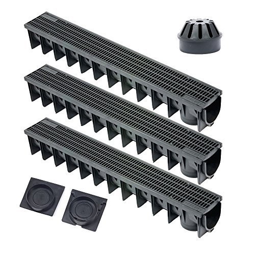 Clark Drain CKS 401 - Rejilla de drenaje, plástico, color negro Conjunto...