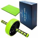 Rodillo-AB + esterilla de rodilla / Aparato para entrenamiento de abdominales / Rodillo para abdominales »TheBodyWheel« / Perfecto para ejercitar los hombros, la espalda y la musculatura abdominal / desmontable / verde