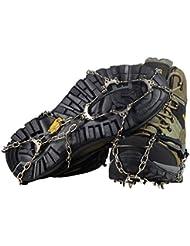 YUEDGE 10 dientes garras acero inoxidable cadena crampones antideslizante zapatos Cover esquí al aire libre hielo nieve senderismo escalada tacos de tracción Ice Grippers (XL)
