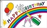 AZ FLAG Flagge Alles Gute ZUM Geburtstag Champagner 90x60cm - Happy Birthday Bottle Fahne 60 x 90 cm - Flaggen Top Qualität