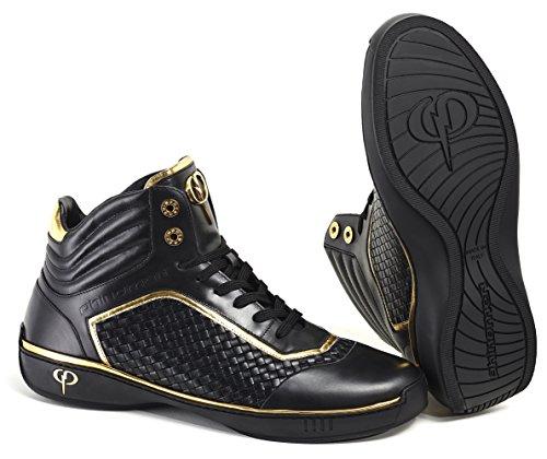 PHINOMEN Luxus Sneaker - Echtleder - Handarbeit Made in Italy - PHIsion Black/Gold Gr. 44 (Gold In Sneaker)