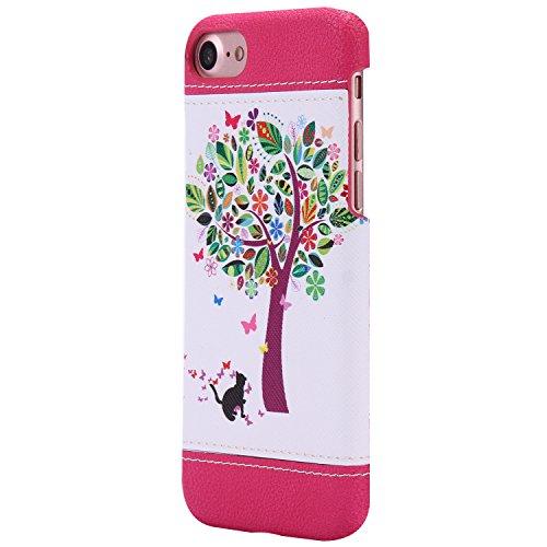 iPhone 7 Plus hülle,Ekakashop Niedlich Comic Style Bär Muster PC + TPU Weiche Silikon Praktisch Back Bumper Case Cover Defender Protective Schutzhülle Handyhülle Tasche Etui Schale für Apple iPhone 7  Katzen und Baum