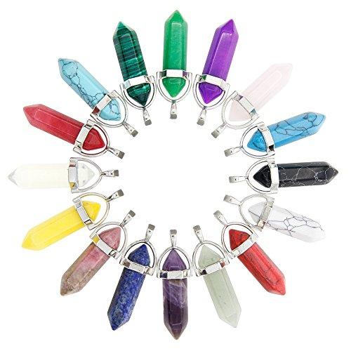 Juanya 16 Stücke KugeLförmig Chakra-Perlen, Quartz-Kristall Stein für Schmuckherstellung,Schmuckbasteln, ausgewählte Farben