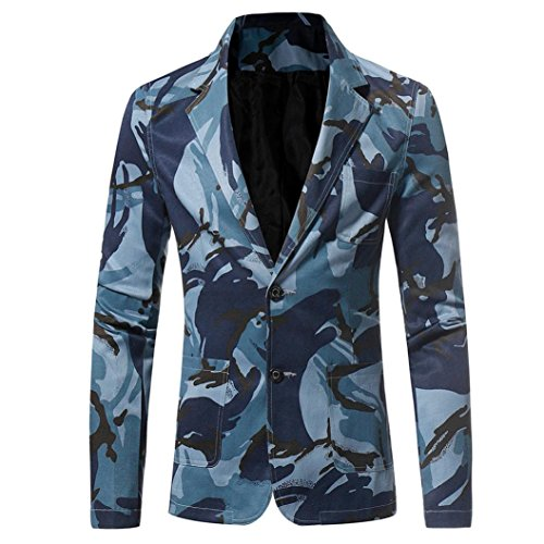 ❤️• •❤️ LUCKYCAT Männer Casual Slim Fit Button Anzug Camouflage Print Blazer Outwear Jacke Tops Mantel (Blau, EU 56--XXXL)