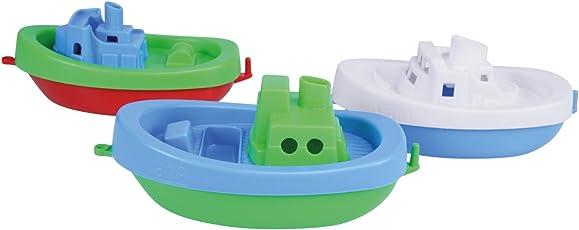 Lena 65470 - Wasserspaß Boote, 3er Set, Badeboote aus Kunststoff, Wasserspielzeugset für Kleinkinder ab 1 Jahr, 3 schwimmende Boote mit Anhängekupplung, Spielzeugboote für Badewanne, Pool, Strand und Sandkasten, Wasser Fahrzeuge für Kinder