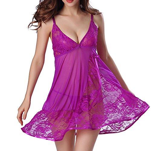 Damen Sexy Reizwäsche Dessous set - Frauen Transparente Kleid Nachtwäsche Nachtkleid Negligee V-Ausschnitt Erotik Set Transparent Spitzen Babydoll Lingerie mit String Highdas