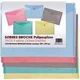 Dohe 91157 - Pack de 5 sobres de broche translúcido polipropileno, folio, multicolor