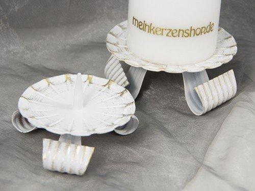 Kerzenteller Kerzenständer Kerzenhalter Hochzeitskerze Taufkerze Gold 16805, Größe:8 cm