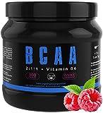 GYM-NUTRITION® — BCAA + VITAMIN B6 – Amino-Säuren hochdosiert, vegan – Leucin, Isoleucin, Valin – 2:1:1 Aminosäure-Pulver – Made in Germany – Geschmack: HIMBEERE