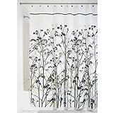iDesign Freesia Duschvorhang | Designer Duschvorhang mit stabiler Aufhängung| zeitlos schöner Badewannenvorhang 180,0 cm x 200,0 cm | Polyester schwarz/taupe