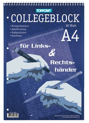 10x Collegeblock DIN A4 Rechts & Linkshänder liniert
