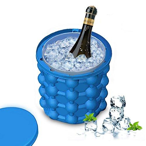 DZW Ice Genie Cube Maker Doppel-Gebrauch Silikon-Eis-Eimer-Eis-Würfel-Formen Platzersparnis, Küchen-Werkzeuge (Blau), 12 * 12 * 14.6Cm