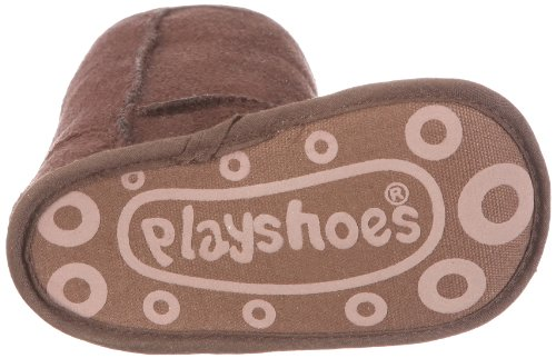 Playshoes Baby Schuh gefüttert mit Stickerei 103477 Unisex-Kinder Hausschuhe Braun (Original)