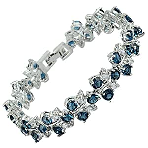 RIZILIA Tennis Bracelet [18cm/7inch] with Round Cut Gemstones CZ [Blue Sapphire] in 18K White Gold Plated, Simple Modern Elegance