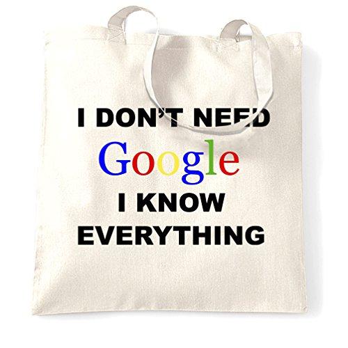 Non ho bisogno di Google So tutto Genius Slogan intelligente divertente Sacchetto Di Tote White