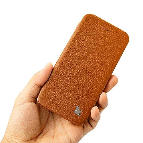 Jisoncase une pièce Ultra Slim Premium Étui à rabat en cuir avec support pour iPhone avec béquille et 100% fait main pour Apple iPhone 6/6S iPhone 6 / 6S Brown