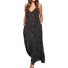 6f5c51cdbacc ZANZEA Donna Vestito Lungo Abito Maxi a Pois Casual Largo Elegante senza  Manica Dress