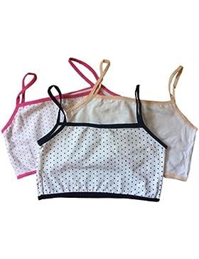 Sujetador superior del algodón de las primeras muchachas adolescentes, paquete 3 (color mezclado). Ajuste 9-16...