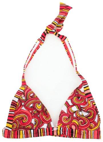 Speedo Damen Bright Swirl Design Neckholder Triangle Bikini Top Gr. 38, Rosa/Weiß/Schwarz/Gelb