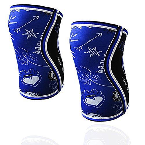 BANBROKEN BLUE DRAW Rodilleras (2 unds) - 5mm Knee Sleeves - Halterofilia, deporte funcional, Cross Training, Levantamiento de Pesas, Running y otros deportes. UNISEX. (S)