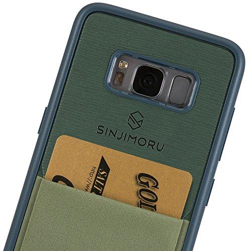 Galaxy S8 Handyhülle mit Kartenfach, Sinjimoru S8 dünnes TPU Case mit Kartenhülle / S8 Wallet Case / S8 Bumper mit aufklebbarem Kartenhalter. Sinji Pouch Case für Samsung Galaxy S8, Schwarz. Grün für Galaxy s8