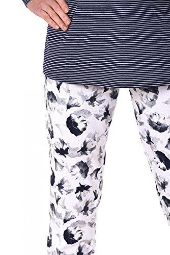 Damen Pyjama langarm - tolle Optik - 171 201 90 881 Marine