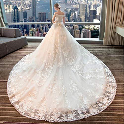MEILV Hochzeitskleider Frau Brautkleider Long Trailing Elegant Braut Prinzessin Gerichtskleider Abschlussball-Party Verstellbarer Riemen (Brautkleider)