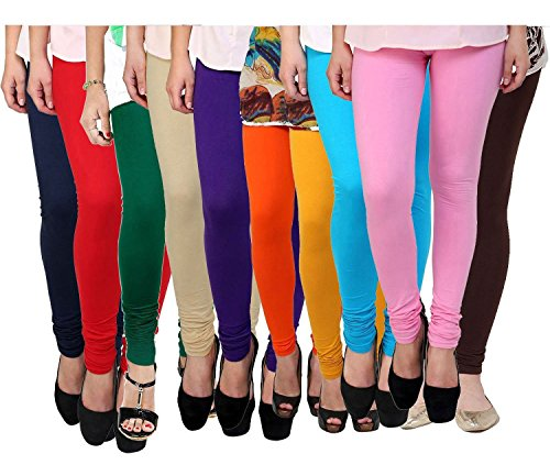 Rooliums Women\'s Cotton Leggings (Pack of 10) (HRCLCOMBO10-12_Multi Color _Free Size)