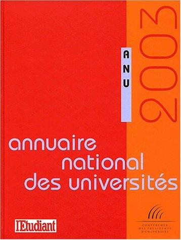 Annuaire National des Universités 2003